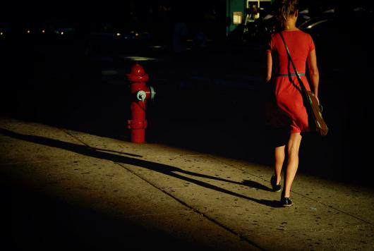 Lady in red, her shadow and a fire hydrant [Leica M8.2]